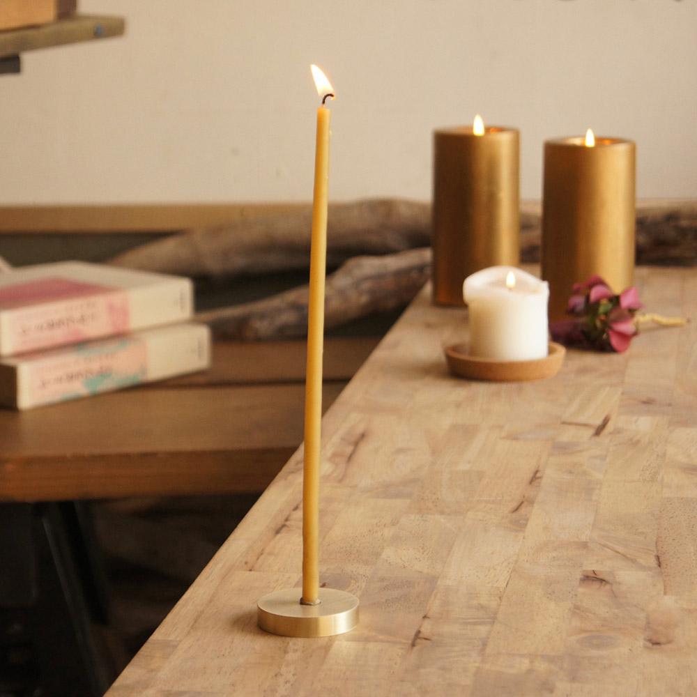 「ひと時」蜜ろうそく10本・真鍮燭台セット